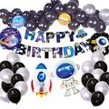 NEI Starry Sky Theme Party Birthday Supplies Decoration Set Includes Happy Birthday Banners, Aluminum Balloons for Astronauts and Rockets, Suitable for Boys Birthday Decorations and Baby Showers