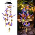 Potmola Solar Butterfly Wind Chime for Outside, LED Solar Lights, Color Changing Solar Lights, Outdoor Solar Hanging Lights for Home/Yard/Patio/Garden/Mom Gift