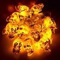 Halloween Skull LED Lights, Indoor or Outdoor Holiday Decoration String Lights, 10 Feet 20 Pack Skull Lights (Warm White A)