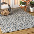 Bungalow Rose Azaiah Moroccan Geometric Textured Weave Light Gray Indoor/Outdoor Area Rug Polypropylene in Brown/Gray, Size 0.19 D in   Wayfair