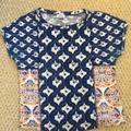 Zara Tops | Zara Boxy Print Top T-Shirt Blouse | Color: Blue/White | Size: S