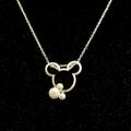 Disney Accessories   Fun Mickey Ears Pendant And Necklace   Color: Silver   Size: 18 Necklace Length