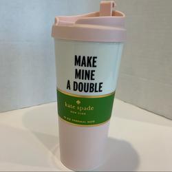 Kate Spade Kitchen | Kate Spade Nwt Travel Coffee Thermal Mug 16 Oz | Color: Pink/White | Size: 16 Oz