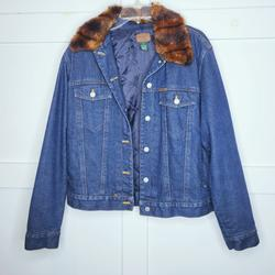 Ralph Lauren Jackets & Coats | Lauren Ralph Lauren Jean Jacket Fur Collar Boxy | Color: Blue/Brown | Size: L