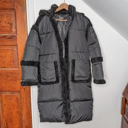 Urban Outfitters Jackets & Coats | Bdg Black Faux Shearling Trim Long Puffer Coat | Color: Black | Size: Xs