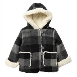 Jessica Simpson Jackets & Coats   Jessica Simpson Baby Girl Shearling Plaid Jacket   Color: Black/Gray   Size: 12mb
