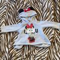 Disney Shirts & Tops | Minnie Mouse Gray Top With Mouse Ears On Hood | Color: Gray/Red | Size: 6-9mb