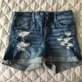 American Eagle Outfitters Shorts | Ae Ne(X)T Level High-Waisted Denim Short Short 40 | Color: Blue | Size: 4