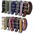 DFKai1run Nylon Strap, 1pcs Strap 18mm 20mm 22mm Nylon Watch Band Waterproof Watch Strap for Army Sport Watch Classic Style (Band Color : Number 22, Band Width : 18mm)