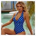 Swimsuit One Piece Plus Size Swimsuit Women Blue Slimming Swimwear Sexy Classic Swimming Polka dot Printing Summer Beach Bathing Suit Bikini (Color : Blue, Size : L)