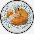 Watercolorof A Sleeping Fox,Living Room Carpet Red Fox on The Colors Non-Slip Backing Round Area Rug Bedroom Study Children Playroom Carpet Floor Mat 3.3'Round