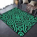 Home Area Carpet Mat Pad Runner Rugs Doormat Modern Contemporary Ethnic Green Thick Lines Pattern on Black Non Slip Entry Rug Indoor Outdoor Living Room Bedroom Modern Home Decor