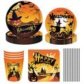 NEI Halloween Themed Party Decoration Kit Includes Dinner Plate Paper Towel Straws for Birthday Party Halloween Theme Party Decoration Serves 8 Guests