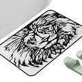 "Rug Bathroom Mat Lion Sketch Art of Safari Animal King of The Jungle Savannah Wildlife Black White Pale Grey 39"" x 29"" Rectangle Kids Rugs"