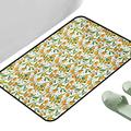 """Indoor Doormat Rug Green and Orange Orange Branches with Flowers and Leaf Pattern Exotic Fruits Fern Green Orange Yellow 47"""" x 23"""" Rectangle Rugs for Kitchen Floor"""