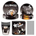 NEI Halloween Themed Party Decoration Kit Includes Dinner Plate Paper Towel Straws for Birthday Party Halloween Theme Party Decoration Serves 8 Guests(Black)