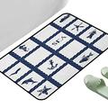 """Printing Style Carpet Rugs Navy Blue Navy Yacht Vessel Rope Used as Frame with Starfish Fish and Anchor Image Navy Blue and White 31.5"""" x 19.5"""" Rectangle Contemporary Indoor Area Rugs"""