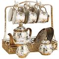 Tea Set Beautifully European Style Ceramic Tea Cup Set Including 6 Pcs Tea Cup and Spoon with 1 Teapot Metal Holder for Home and Office Cup & Saucer Sets,Size:Set of, lsxysp, White, Set of 16