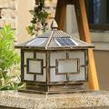 Beesuya Outdoor Post Lights Fixture Retro Outdoor Solar Post Lantern Smart Light Perception Solar Post Lights IP65 Waterproof Post Cap Light Garden Villa Pillar Lamp LED Aluminum Column Lamp 3000K