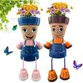 Resin Boy and Girl Planter, Flower Pot Head Planter Adorable Garden Decor, Face Flower Pot Head Planter Ornament for Patio Garden Office Home (2pcs)