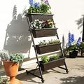Patio Vertical Herb Planter Garden Elevated Raised Bed Vegetable Boxes W/ Wheel Wall Decor Plant Stand Garden Decor Outdoor Decor Patio Decor Flower Pot Raised Garden Boxes Outdoor Plant Stand