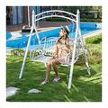 LLNN Patio Swing Porch Glider Hammock Hang Bench Chair, Outdoor Swing Chairs for Adults, White Princess Swing Bed Garden Swing Outdoor Swing Chair Bench Perfect Set