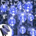 Solar String Lights Blue Outdoor - 2pack 72ft 120 LED Outdoor String Lights Solar Powered Crystal Globe Lights with 8 Lighting Mode Waterproof Solar Light Outside Decor for Patio Garden Yard Xmas Tree