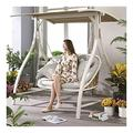 LLNN Patio Swing Porch Glider Hammock Hang Bench Chair, Outdoor Swing Chairs with Cushions and Pillow, Princess Swing Bed Garden Swing Outdoor Swing Chair Bench
