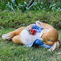 ZXM Outdoor Garden Rabbit Resin Decoration, Garden Simulation Rabbit Ornaments and Statue Art Backyard Lawn Environmental Protection Resin Animal Crafts for Garden Landscape Sculpture
