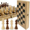 Wooden Chess Set, 12in Travel Chess Set with Folding Chess Board Foldable Chess Set Wooden Chess Board Game Set with Chesspiece for Kids Adults