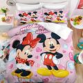 Haonsy Mickey Minnie Mouse Duvet Cover Sets Twin Size 3D Cartoon Mickey Minnie Bedding Set 2PCS Comforter Cover Bed Sets, Bedroom Decor for Boys Girls