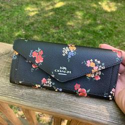 Coach Bags | Authentic Coach Leather Floral Slim Flap Wallet | Color: Black/Red | Size: 7 34 (L) X 3 12 (H) X 1 (W)