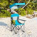 CASAINC Portable Folding Camping Canopy Chair w/ Cup Holder Cooler Metal in Blue, Size 59.0 H x 38.5 W x 28.5 D in   Wayfair WF+OP70570BL