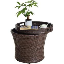 Aura Outdoor Sundale Outdoor Small Patio Side Table w/ Storage, 20 Inch Patio Rattan Side Table, Wicker Accent Tables End Table w/ Lid, Steel Frame
