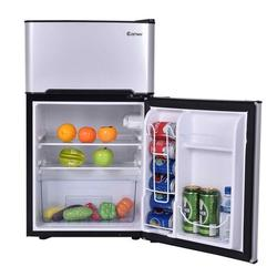 Costway Refrigerator Small Freezer Cooler Fridge Compact 3.2 Cu Ft. UnitPlastic in Gray/Black, Size 34.0 H x 19.0 W x 17.5 D in   Wayfair EP22672GR