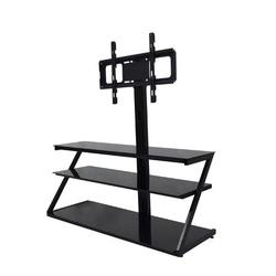FAW Universal Tempered Glass Metal Frame Three-Layer Glass TV Stand Height & Angle Adjustable 400*600 VESA For 32~65 Inch TV in Black   Wayfair