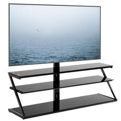 FAW Universal Tempered Glass Metal Frame Three-Layer Glass TV Stand Height & Angle Adjustable 400*600 VESA For 32~65 Inch TV in Black | Wayfair