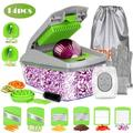 Fitnate 14pcs Vegetable Chopper Food Fruit Cutter Tomato Slicer Dicer Container Stainless Steel/Plastic in Gray, Size 10.63 H x 4.48 W in | Wayfair