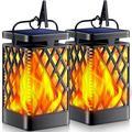 MingshanAncient Solar Lights Outdoor Flickering Flame Solar Lantern Outdoor Hanging Lanterns Decorative Outdoor Lighting Solar Powered Waterproof LED Flame Umbrella L