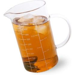 shanglixiansenxinmaoyi Glass Measuring Cup w/ Handle, 500 ML (0.5 Liter, 2 Cup) Measuring Cup w/ Three Scales (OZ, Cup, ML/CC) & V-Shaped Spout