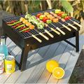 JIAQ Portable Charcoal Grill Outdoor Grills & Smokers Foldable Barbecue Grill Camping Picnic Travel Patio Backyard Cooking, Black | Wayfair