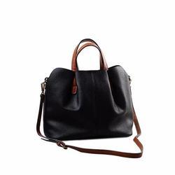 """VNBRED 12"""" Fashion Fold Leather Handbag Shoulder Bag Mobile Messenger Bag in Black, Size 5.5 H x 12.2 W x 10.4 D in   Wayfair I25P2FYY6080902BK"""