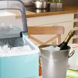 Pannow Countertop Ice Maker Machine, Portable Compact Automatic Ice Maker w/ Scoop & Basket, Perfect For Home/Kitchen/Office/Bar Mixed Drinks in Blue