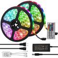 LED Strip Lights, UMICKOO Led Rope Lights 32.8 feet 10m w/ IR Remote & 12V 5A Power Supply Flexible Color Changing 5050 RGB 300 LED Light Strips K