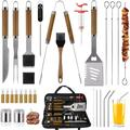 TianRan 30PCS BBQ Grill Tools Set Wooden Handle Stainless Steel Grilling Accessories w/ Spatula, Size 17.4 H x 8.0 W x 2.6 D in   Wayfair