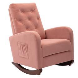 Gemma Violet Velvet Rocking Chair,comfortable Rocker Fabric Padded Seat,modern High Back Armchair, Size 20.87 H x 31.1 W x 26.18 D in | Wayfair