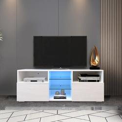 Ivy Bronx Modern Minimalist Tv Cabinet Living Room w/ 20 Colors Led Lights,Tv Stand Entertainment Center () Modern High-Gloss Led Tv Cabinet in White