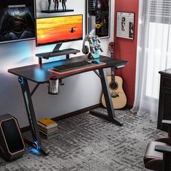 Inbox Zero Gaming Desk, Z-Shaped Computer Desk Gamer Workstation w/ Monitor Stand & Carbon Fiber Surface, Gamer Table w/ RGB Lights, Cup Holder