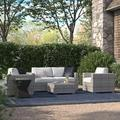 Sol 72 Outdoor™ Meltham 5 Piece Rattan Sectional Seating Group w/ Cushions All - Weather Wicker/Wicker/Rattan in Gray   Wayfair