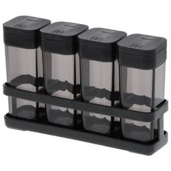 Yamazaki Home Tower 4 Jar Spice Jar & Rack Set Plastic/Steel in Black, Size 1.6 H x 6.2 W x 1.6 D in   Wayfair 3346